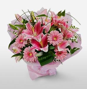 1 dal kazablanka ve kır çiçek görsel buketi  İsparta internetten çiçek satışı
