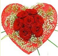Mika kalp içerisinde 7 adet kırmızı gül  İsparta çiçekçi mağazası