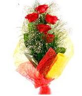5 li kırmızı gül buketi  İsparta internetten çiçek satışı