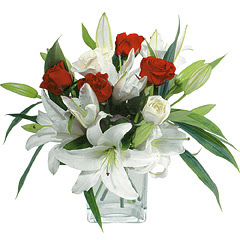 vazo içerisinde 4 gül 1 adet kazablanka  İsparta online çiçek gönderme sipariş