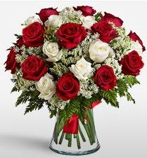 Vazoda 12 kırmızı 12 beyaz gül tanzimi  İsparta uluslararası çiçek gönderme