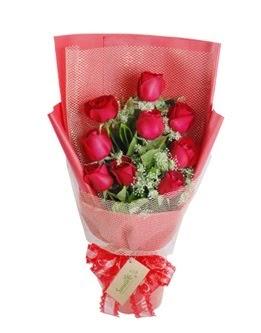 9 adet kırmızı gülden görsel buket  İsparta ucuz çiçek gönder