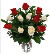 Vazo içerisinde 6 kırmızı 6 beyaz gül  İsparta hediye çiçek yolla