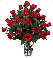 İsparta çiçek siparişi sitesi  24 adet kırmızı gülden vazo tanzimi