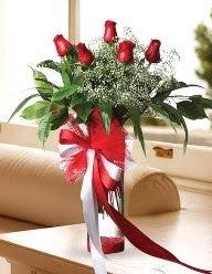 Camda 5 kırmızı gül tanzimi  İsparta çiçekçi telefonları