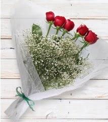 5 kırmızı gülden sade buket  İsparta çiçek yolla