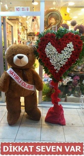 1.5 Metre peluş ayı ve Kalp  İsparta çiçek gönderme sitemiz güvenlidir