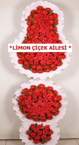 3 katlı kırmızı düğün açılış çiçeği  İsparta çiçek gönderme