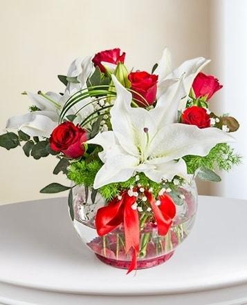 Fanus Vazoda 2 Lilyum ve 5 Gül Dansı  İsparta çiçek gönderme