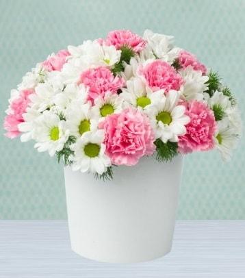 Seramik vazoda papatya ve kır çiçekleri  İsparta çiçek siparişi sitesi