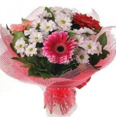 Gerbera ve kır çiçekleri buketi  İsparta internetten çiçek siparişi