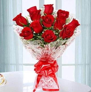 11 adet kırmızı gülden görsel şık buket  İsparta ucuz çiçek gönder