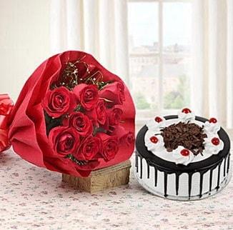 12 adet kırmızı gül 4 kişilik yaş pasta  İsparta çiçek , çiçekçi , çiçekçilik