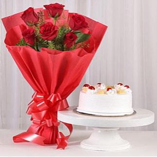 6 Kırmızı gül ve 4 kişilik yaş pasta  İsparta çiçek , çiçekçi , çiçekçilik