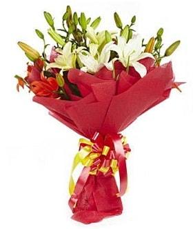 5 dal kazanlanka lilyum buketi  İsparta çiçek gönderme sitemiz güvenlidir