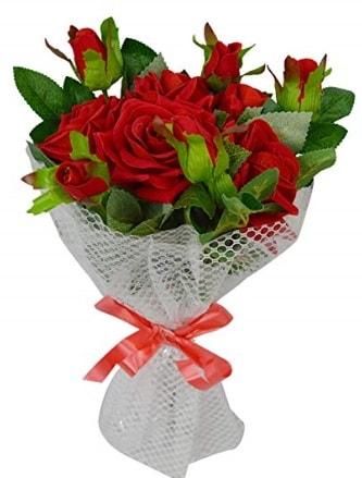 9 adet kırmızı gülden sade şık buket  İsparta çiçekçi telefonları