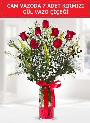 Cam vazoda 7 adet kırmızı gül çiçeği  İsparta çiçek gönderme sitemiz güvenlidir
