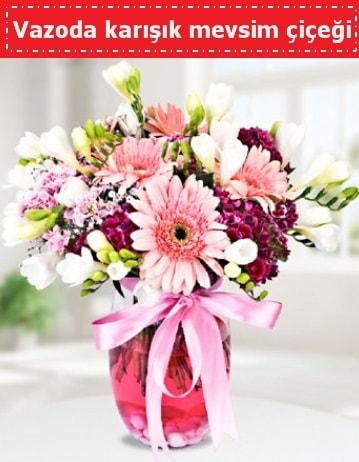 Vazoda karışık mevsim çiçeği  İsparta çiçek , çiçekçi , çiçekçilik