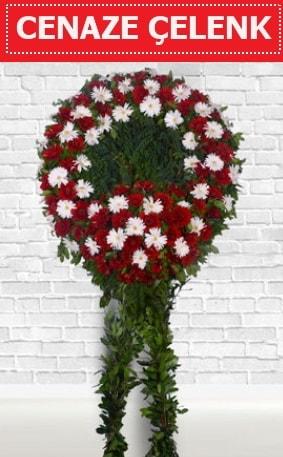 Kırmızı Beyaz Çelenk Cenaze çiçeği  İsparta İnternetten çiçek siparişi