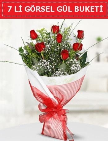 7 adet kırmızı gül buketi Aşk budur  İsparta çiçek satışı