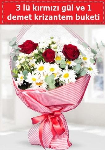 3 adet kırmızı gül ve krizantem buketi  İsparta çiçek gönderme sitemiz güvenlidir
