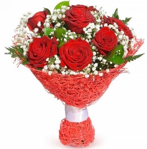 7 adet kırmızı gül buketi  İsparta çiçekçiler