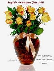 İsparta internetten çiçek satışı  mika yada Cam vazoda 12 adet sari gül